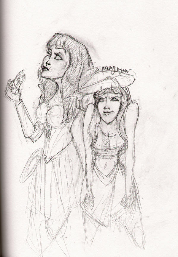 Xena with pizza...and Gabby by jaymetwins