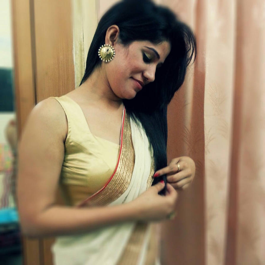 Neha In A White Saree By Ragalahari On DeviantArt