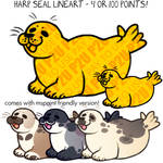 harp seal lineart P2U - $1 or 100 points!