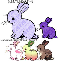 bunny lineart P2U - $1.00/100 points!