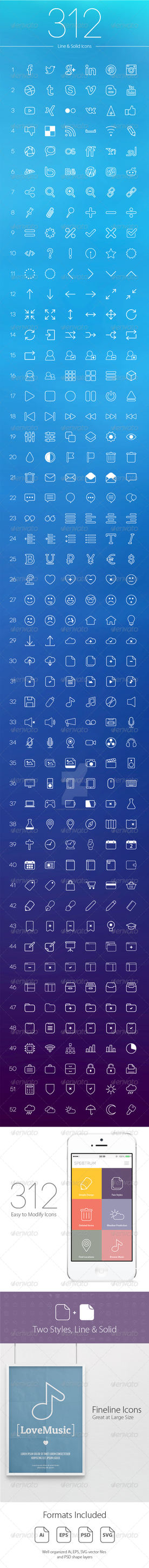 312 Line and Solid Icons by AndretiDesign