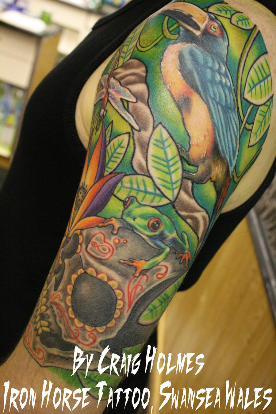 Colorful Sugar Skull Tattoo Rainforest tattoo sleeve with