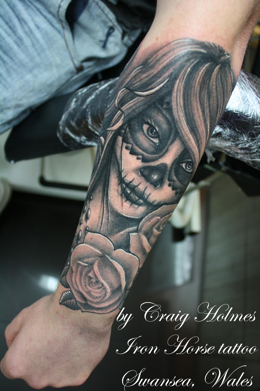 day of the dead girl tattoo by craig holmes by craigholmestattoo on deviantart. Black Bedroom Furniture Sets. Home Design Ideas