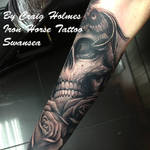 Skull sleeve by Craig Holmes @ Iron Horse tattoo