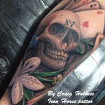 Skull / gambling leg sleeve tattoo by Craig Holmes