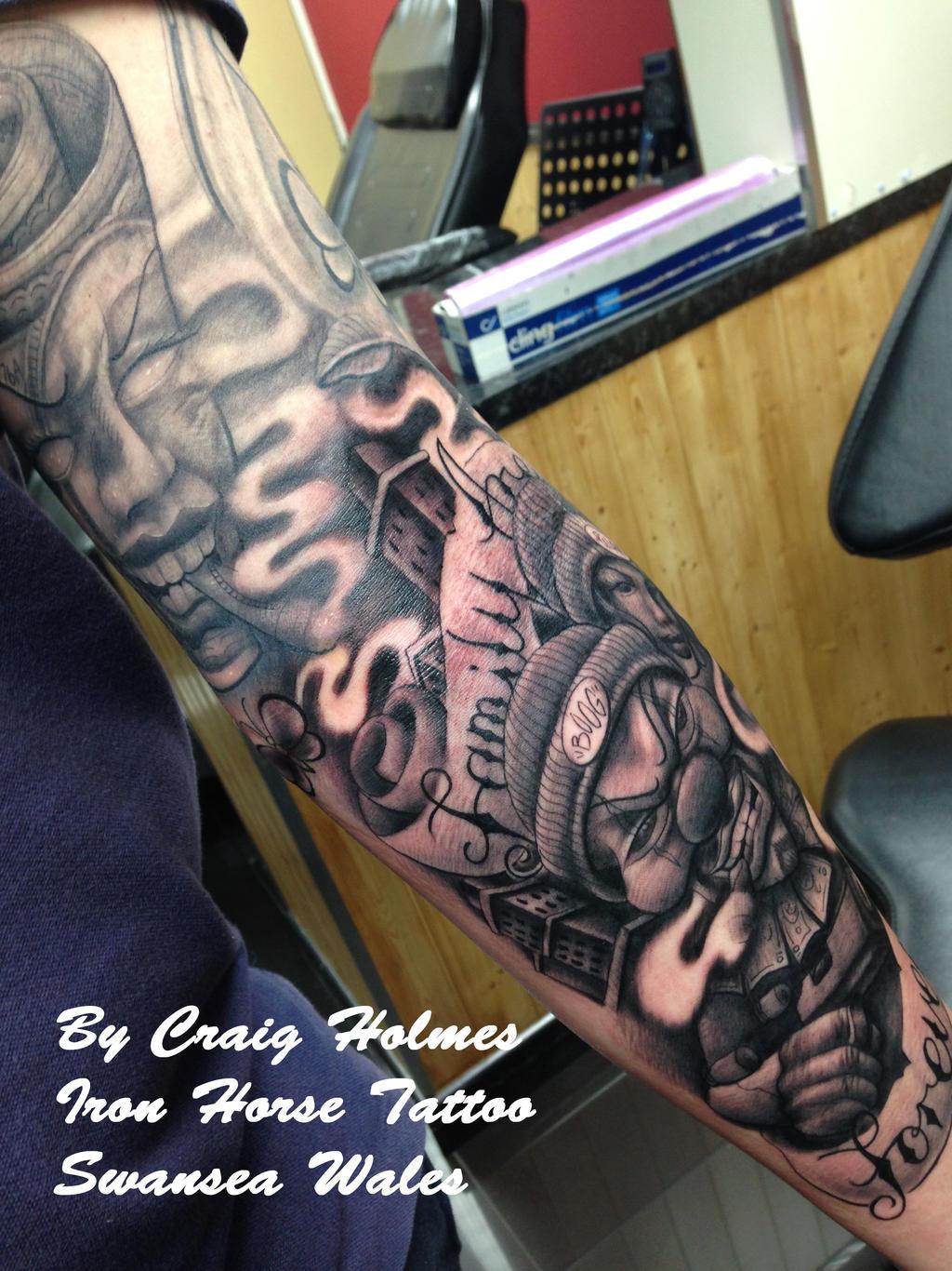 Boog Gangster sleeve Tattoo by Craig Holmes by CraigHolmesTattoo