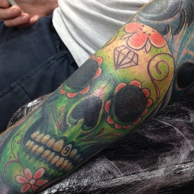Sugar candy skull sleeve tattoo by craig holmes by for Tattoo shop etiquette