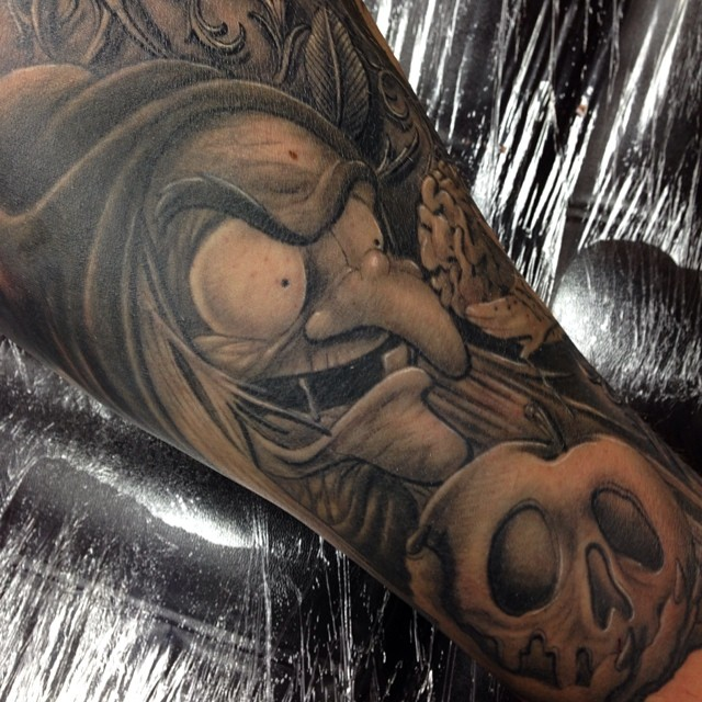 Snow white witch disney tattoo by Craig Holmes