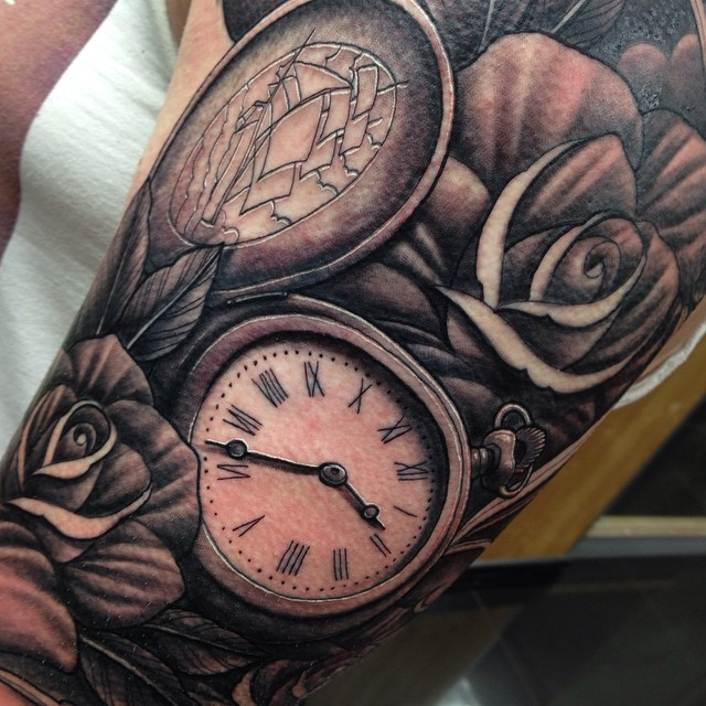 pocket watch and roses tattoo sleeve craig holmes by craigholmestattoo on deviantart. Black Bedroom Furniture Sets. Home Design Ideas