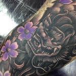 Japanese foo dog sleeve tattoo by Craig Holmes
