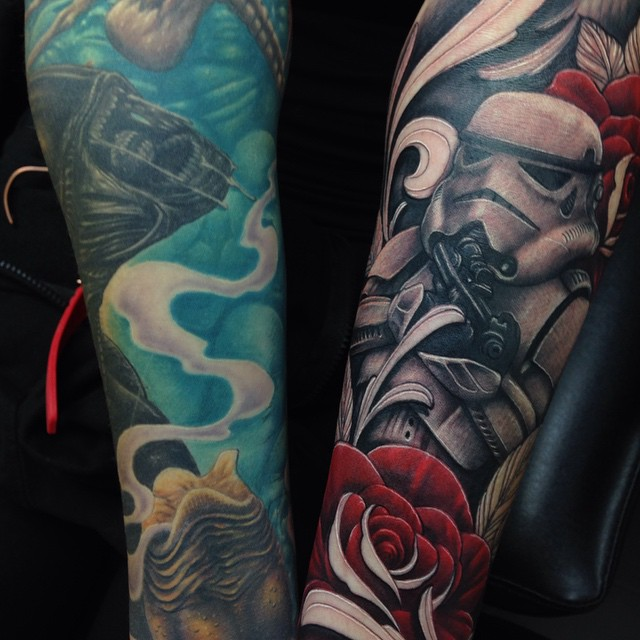 star wars and alien tattoo sleeves by craig holmes by craigholmestattoo on deviantart. Black Bedroom Furniture Sets. Home Design Ideas