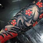 Japanese Hannya Leg Sleeve tattoo by Craig Holmes
