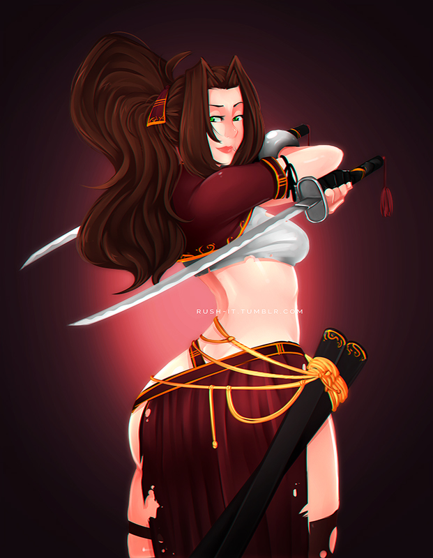 ::: Samurai Aerith ::: by Rush--it