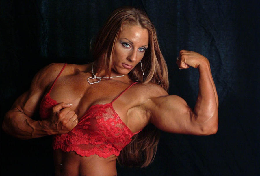 Ripped female bodybuilder ironfire works out and poses 5