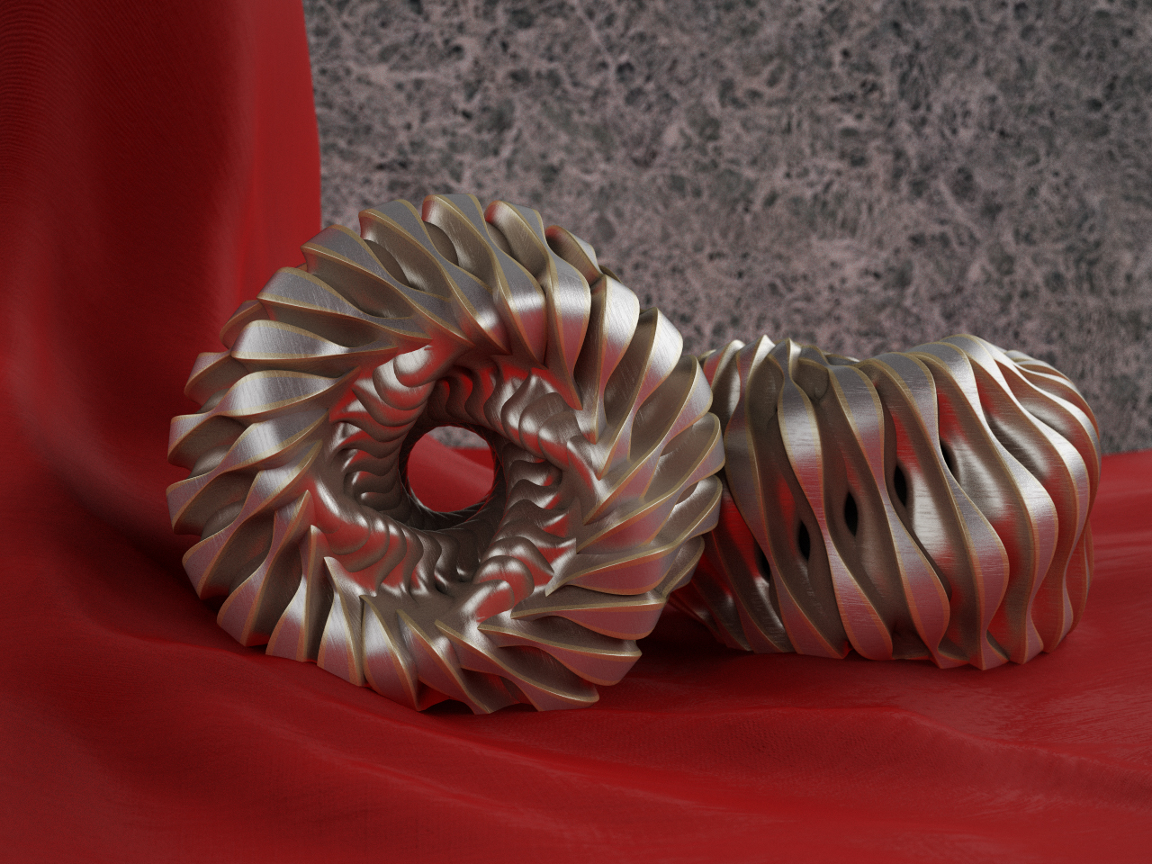 Twisted Torus Metal Sculptures by LuxXeon