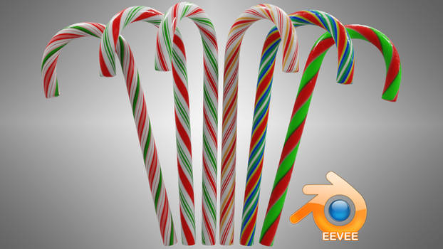 FREE Low Poly Candy Canes w/ Procedural Textures