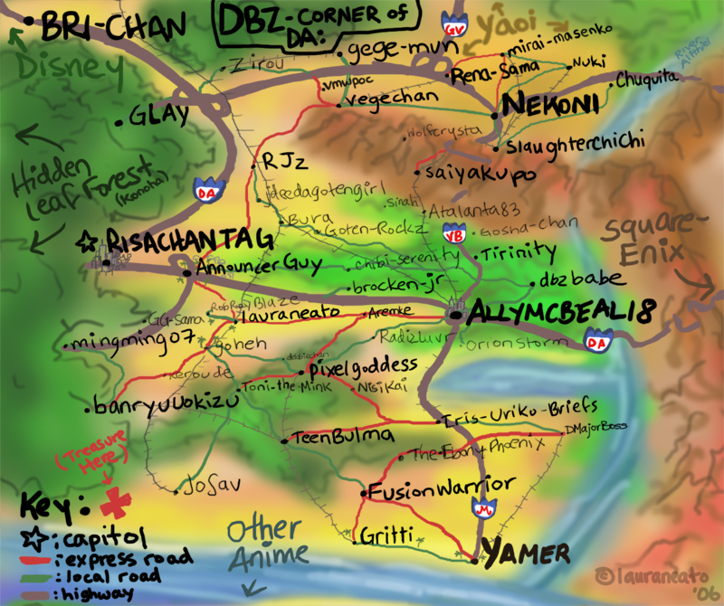 DBZ Map of DA, as I see it V.2 by lauraneato on DeviantArt Dbz World Map on