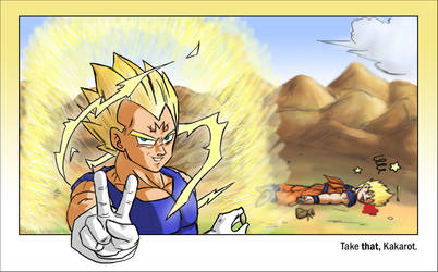 Take THAT, Kakarot - Veg-Goku by lauraneato