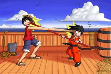 Monkey D. Luffy vs. Monkey Boy by lauraneato