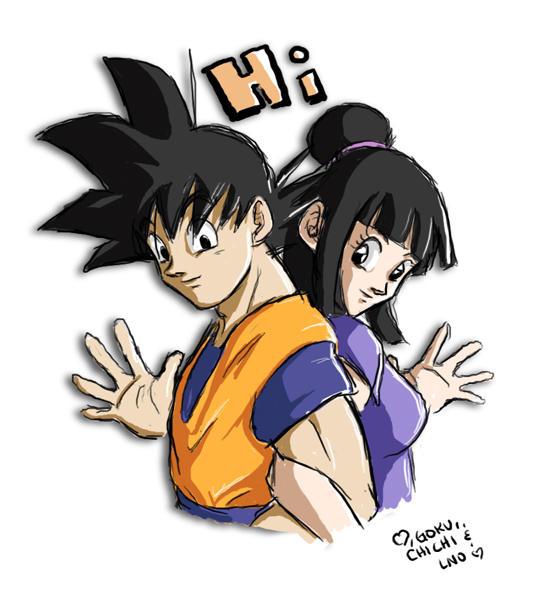 Goku and Chichi - Hi by lauraneato