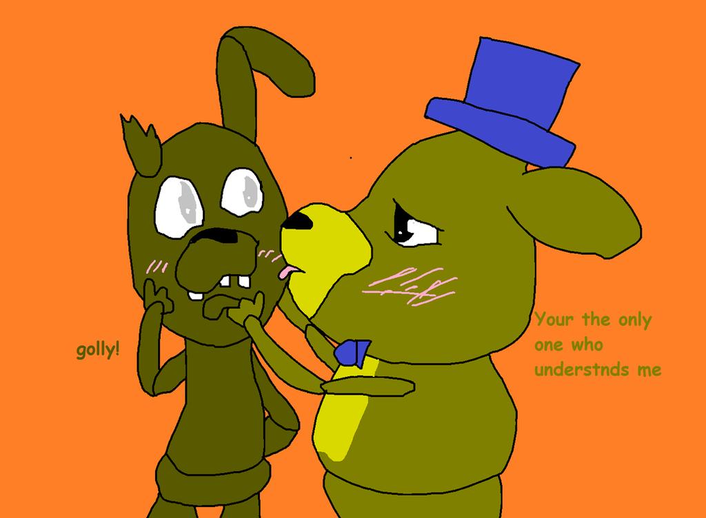 Gold freddy x gold rabbit spring trap by blushingmidnightrose on