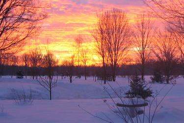 Snowy Sunrise by wally626