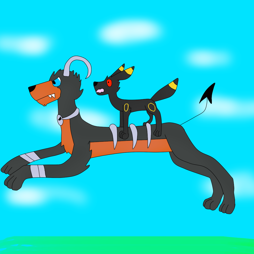 Houndoom And Umbreon by FlameNelson