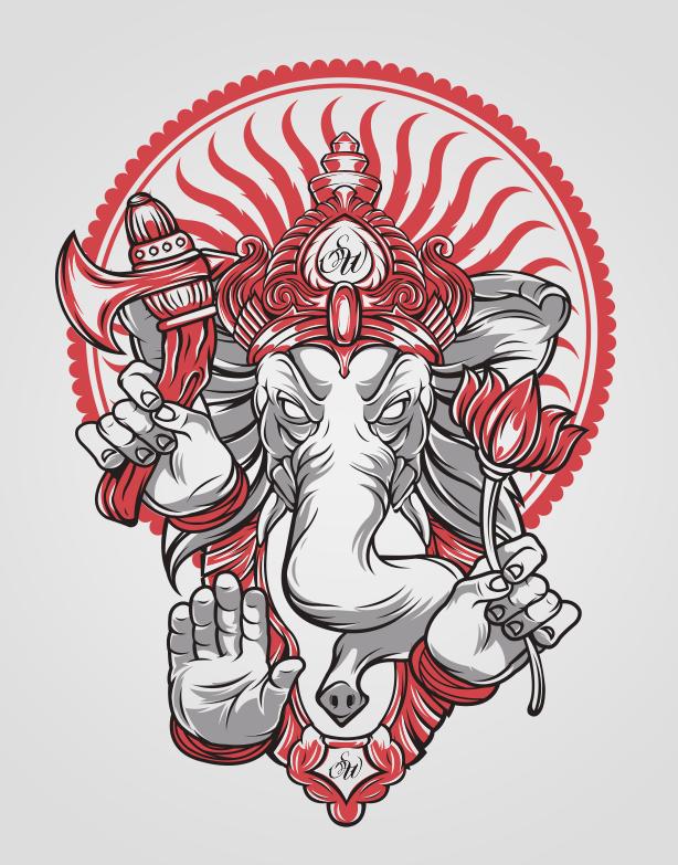 ganesh head tattoo outline - photo #36