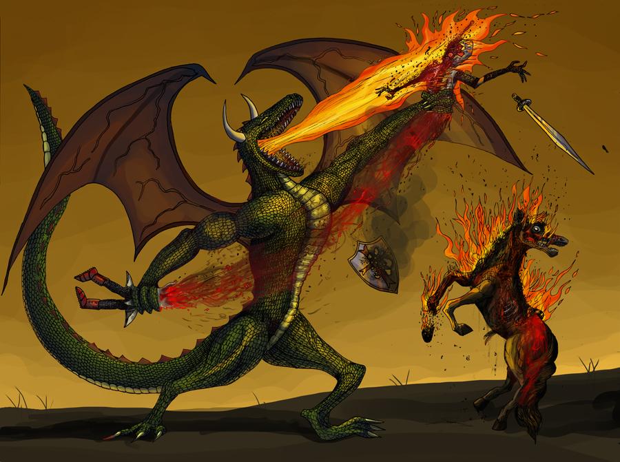Dragon and knight by tigon on DeviantArt