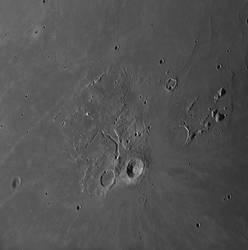 Strange channels on a lunar plain on Aug 25 am