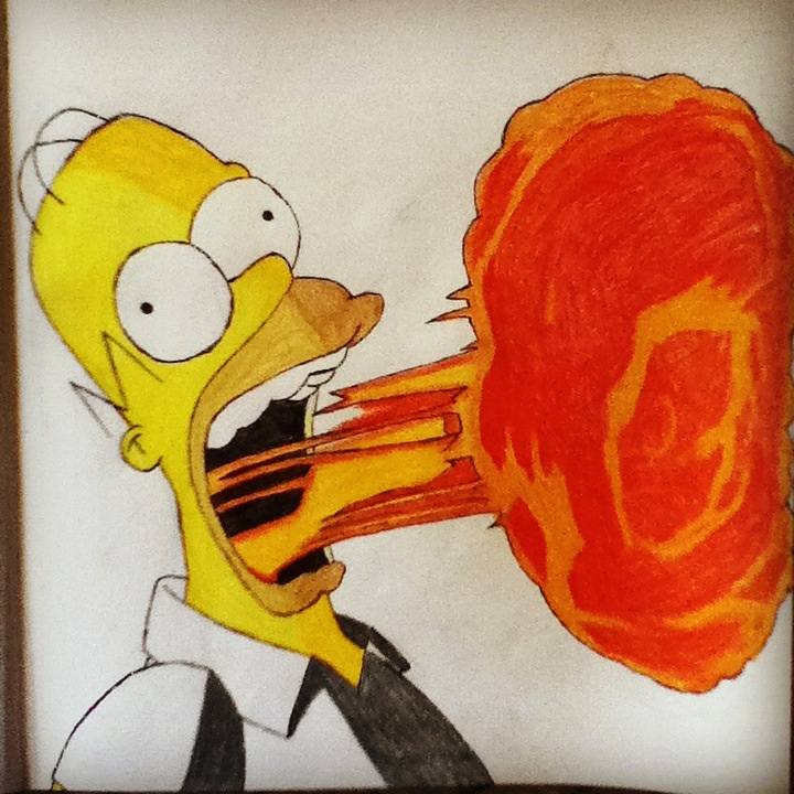 Homer Simpson Burping Fire by XRaeOne