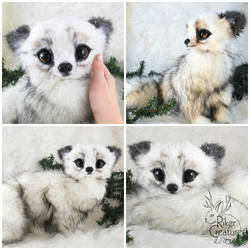 Fantasy Arctic Fox - Poseable Art-Doll Creature - by RikerCreatures