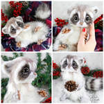 Baby Frost Raccoon ~ Poseable Fantasy Creature