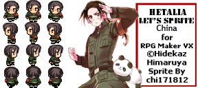[REQUESTED]Hetalia RPG Maker - 1p!China sprites by chi171812