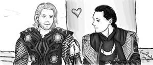 Loki and Thor, holding hands. by LoverRevolveri