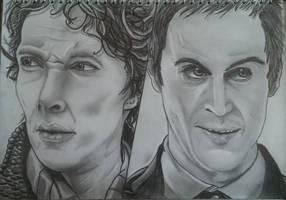 Sherlock and Jim Moriarty by joereynolds