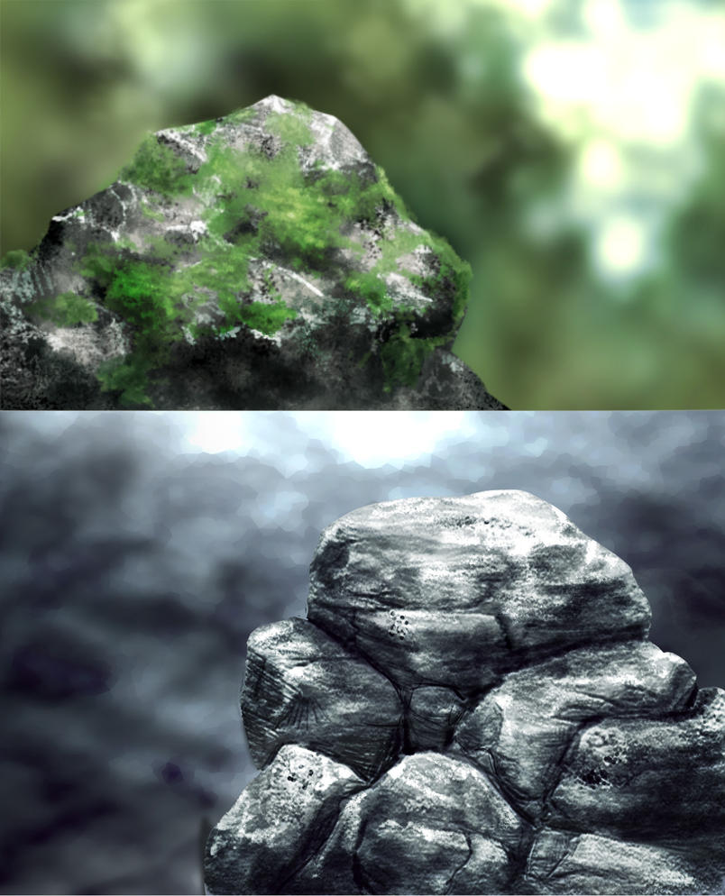 Practice : drawing realistic rocks by Spin-chan