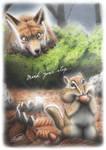 Fox, Chipmunk by SheltieWolf