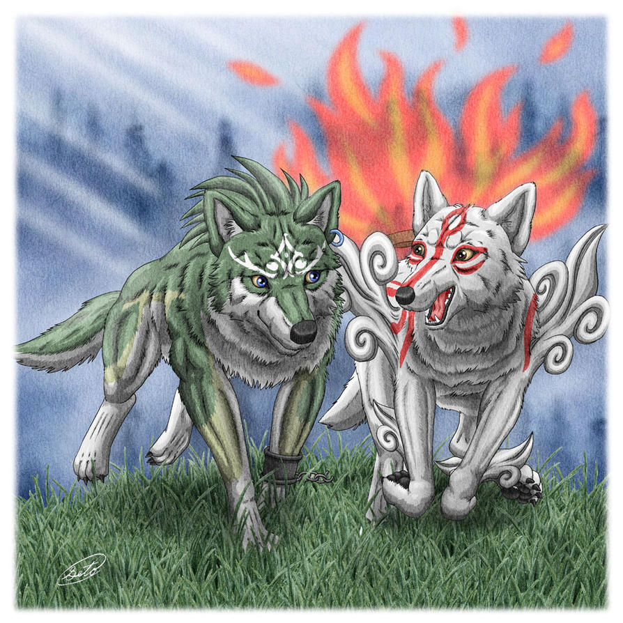 Wolf Link Okami Amaterasu by SheltieWolf
