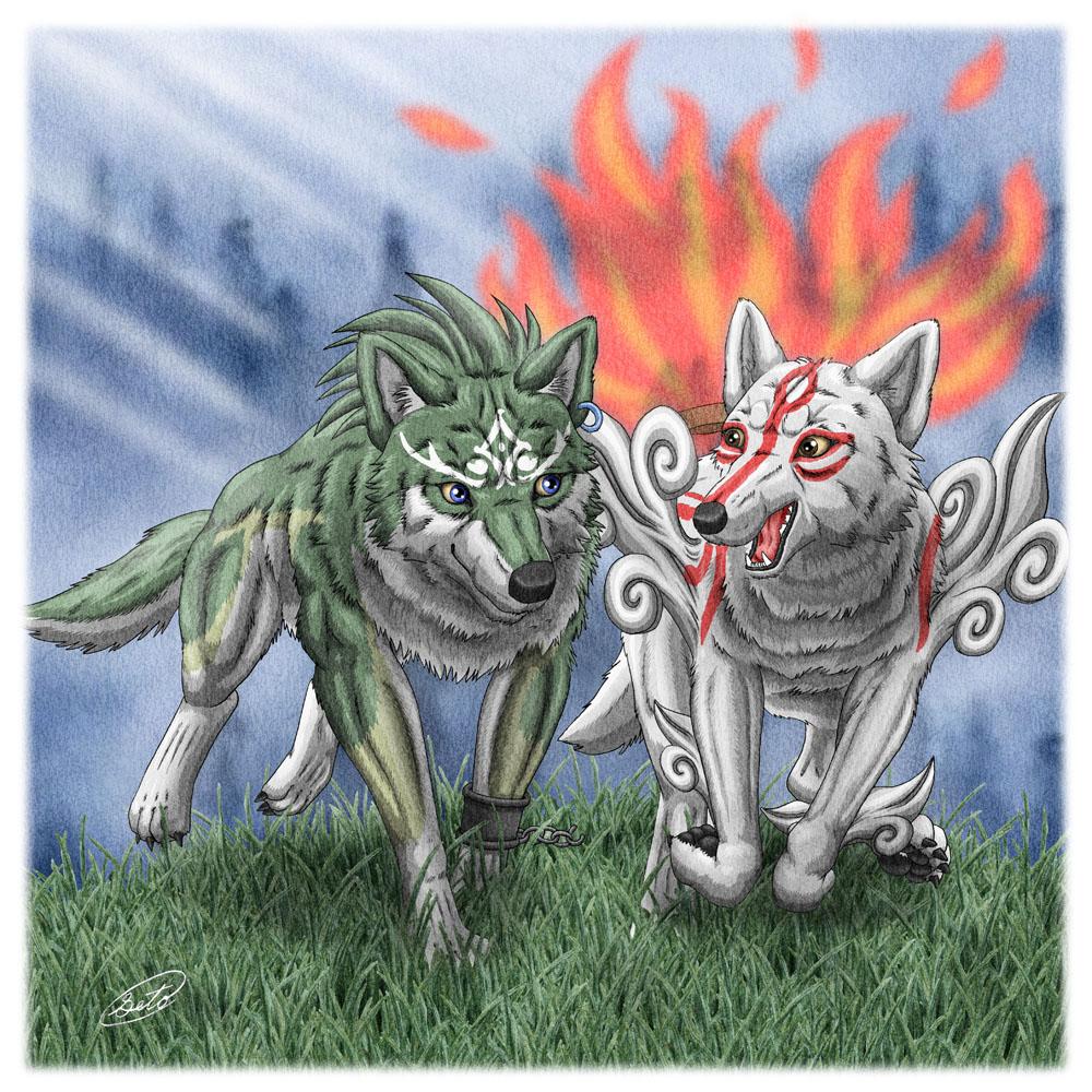 Wolf Link Okami Amaterasu by SheltieWolf