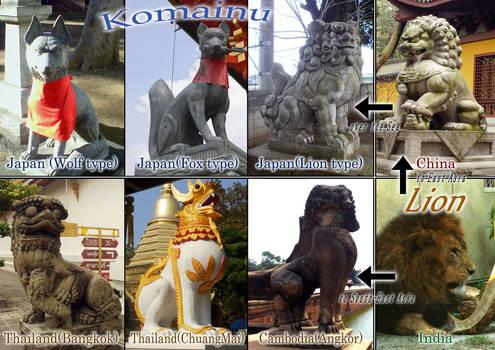 Komainu and Lion statures