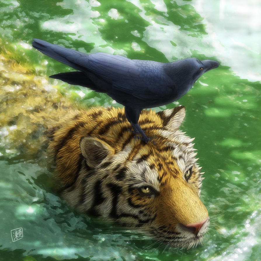 Swimming Tiger by SheltieWolf