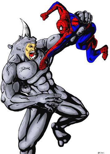 black spiderman vs rhino - photo #14