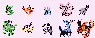 Pokemon X and Y demake sprites by brotoad