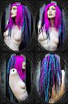 dark-pink turquoise black wig