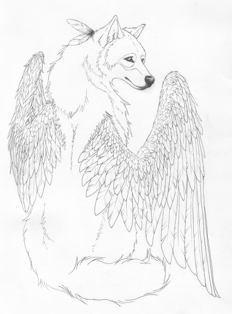 winged wolf coloring pages - winged spirit lineart by crimsonwolfsobo on deviantart