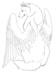 Winged Wolf line art -edited-