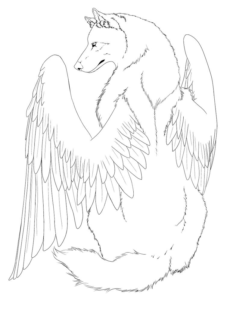 Winged Cats - Free Coloring Pages