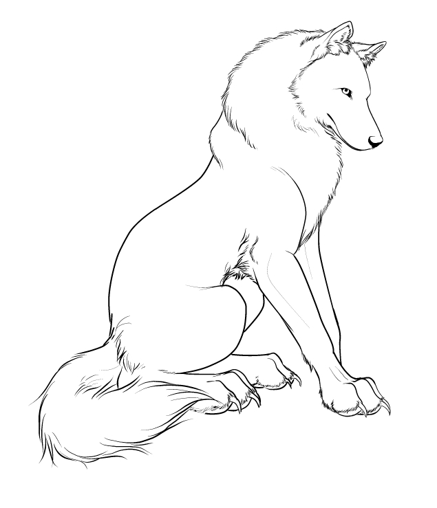Simple Wolf Lineart : Wolf character design lineart by crimsonwolfsobo on deviantart