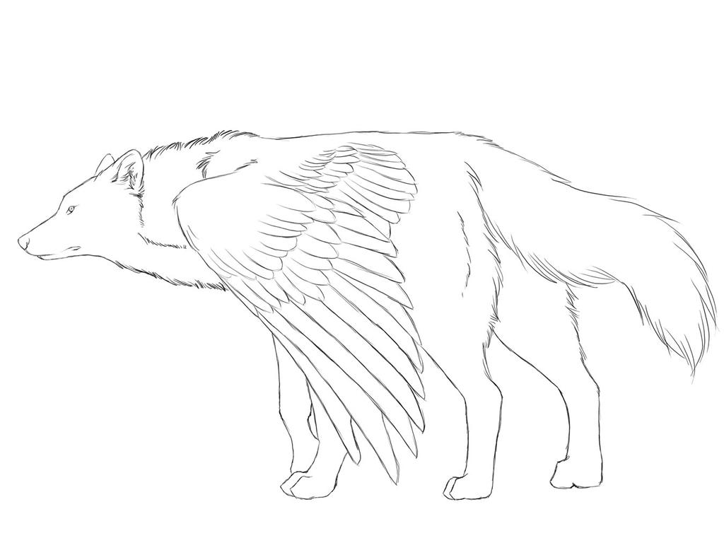 Wolf Lineart : Wolf with wings lineart